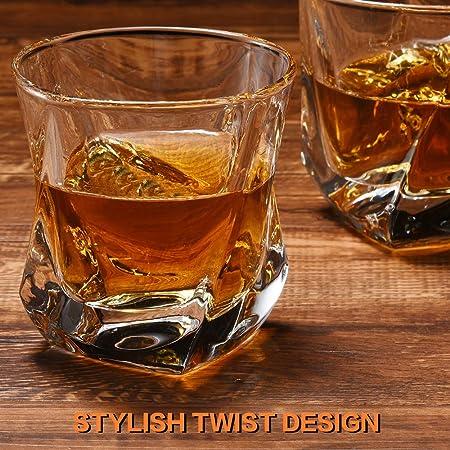 Cooko Vasos de whisky,Lujo Cristal Set de Cristal,Vidrio de la Claridad Non-Leaded,Vino Accesorios Juego de 2 Vasos (8oz) para Vino, Cócteles o Jugo