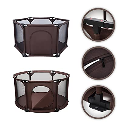 Oxford Cloth Folding Safety Barrier Children Playpen Baby Safety Guard W// Bag MA