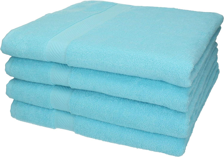 100/% Cotone Betz Set di 4 Asciugamani da Bagno 70 x 140 cm Palermo Colore Verde e Turchese