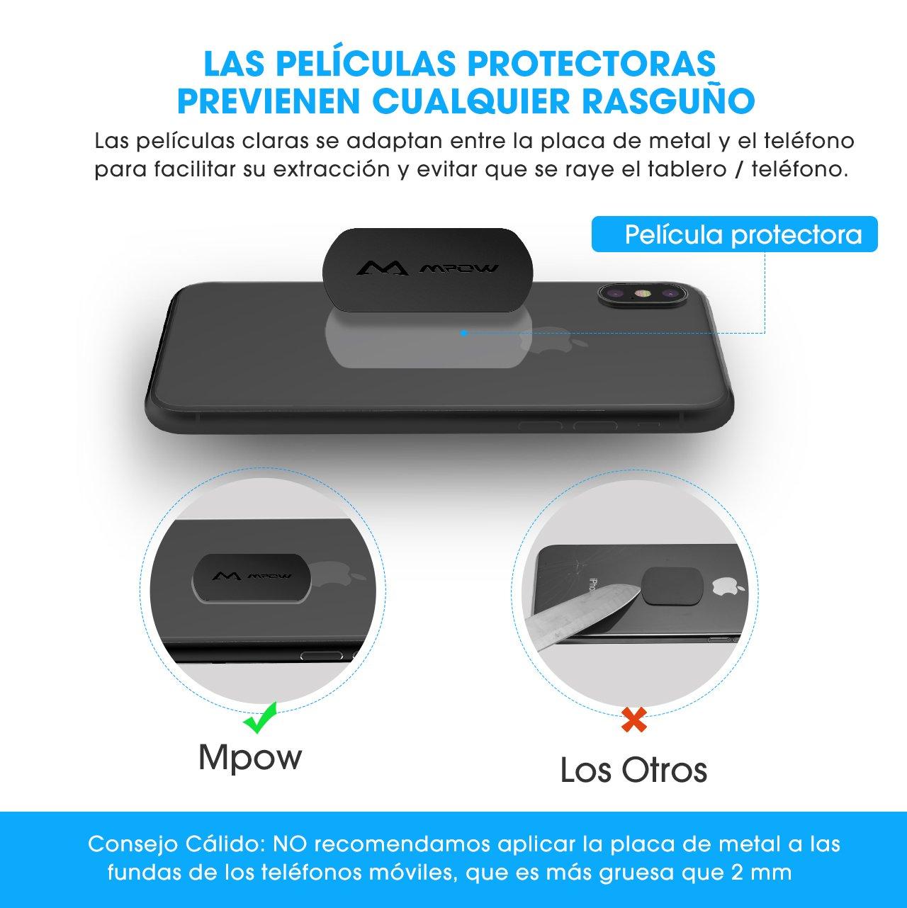 [Versión Nueva] Mpow Placas Metálicas de 8 Packs para Soporte Móvil Magnético del Coche, Láminas Metálica Reemplazo para Soporte de Teléfono,con 3M adhesivo ...