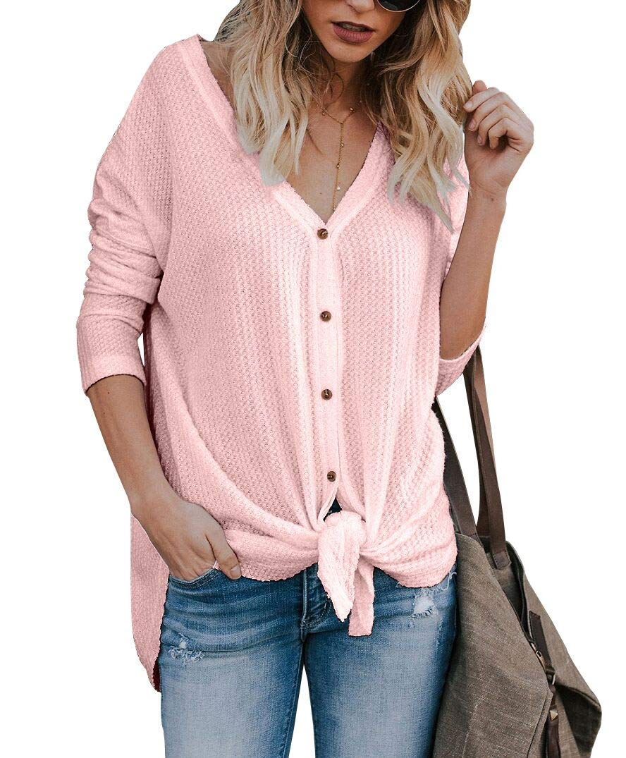 NuoReel Women's Lightweight Waffle Knit Button Front Henley Tops V Neck Tie Knot Long Sleeve Loose Fit Blouse Shirts(Pink X-Large)