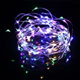HDE 33 ft LED String Lights with Remote [Dimmable, Waterproof, Flexible Copper Wire] Flashing Multi-Function Decorative Indoor Outdoor Lighting for College Dorm Room, Wedding Party, Patio Multi Color