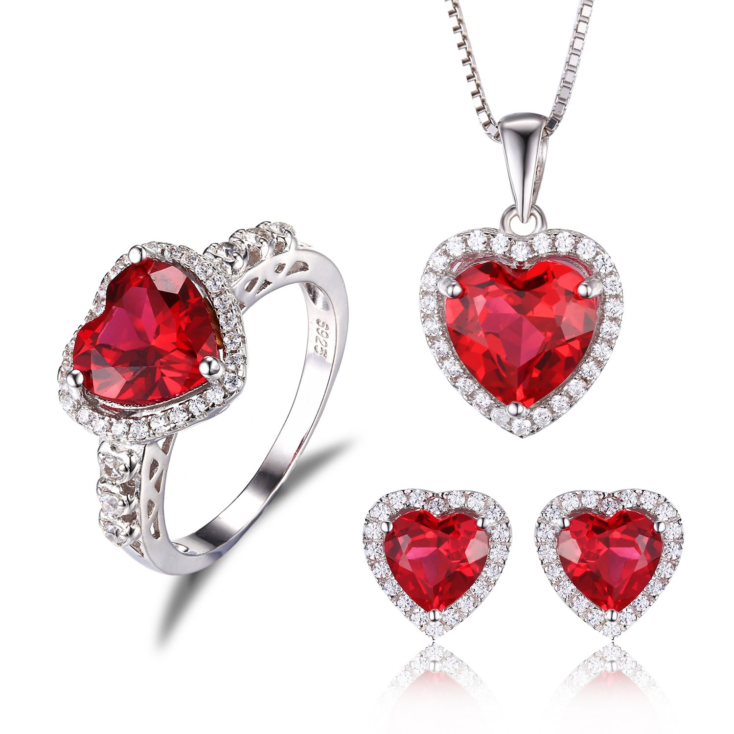 JewelryPalace Ruby Sets Ring Pendant Necklace Stud Earrings 925 Sterling Silver Size 7