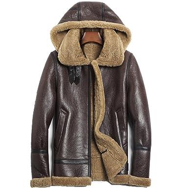 40fb6ec48 Hooded Brown Shearling Jacket Mens Aviator b3 Sheepskin Jacket at Amazon  Men's Clothing store: