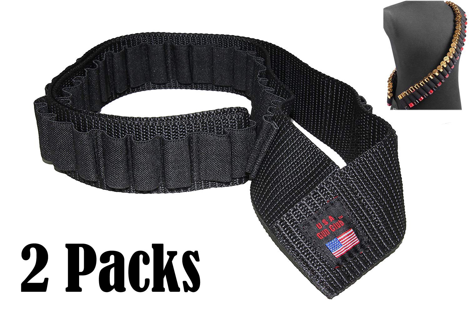Pack of 2 USA GunClub Shotgun Rifle Sling 56 Shell Bandolier /56 Rounds (2 Packs)