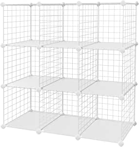 "SONGMICS Metal Wire Cube Storage,9-Cube Shelves Organizer,Stackable Storage Bins, Modular Bookcase, DIY Closet Cabinet Shelf, 36.6""L x 12.2""W x 36.6""H, White"