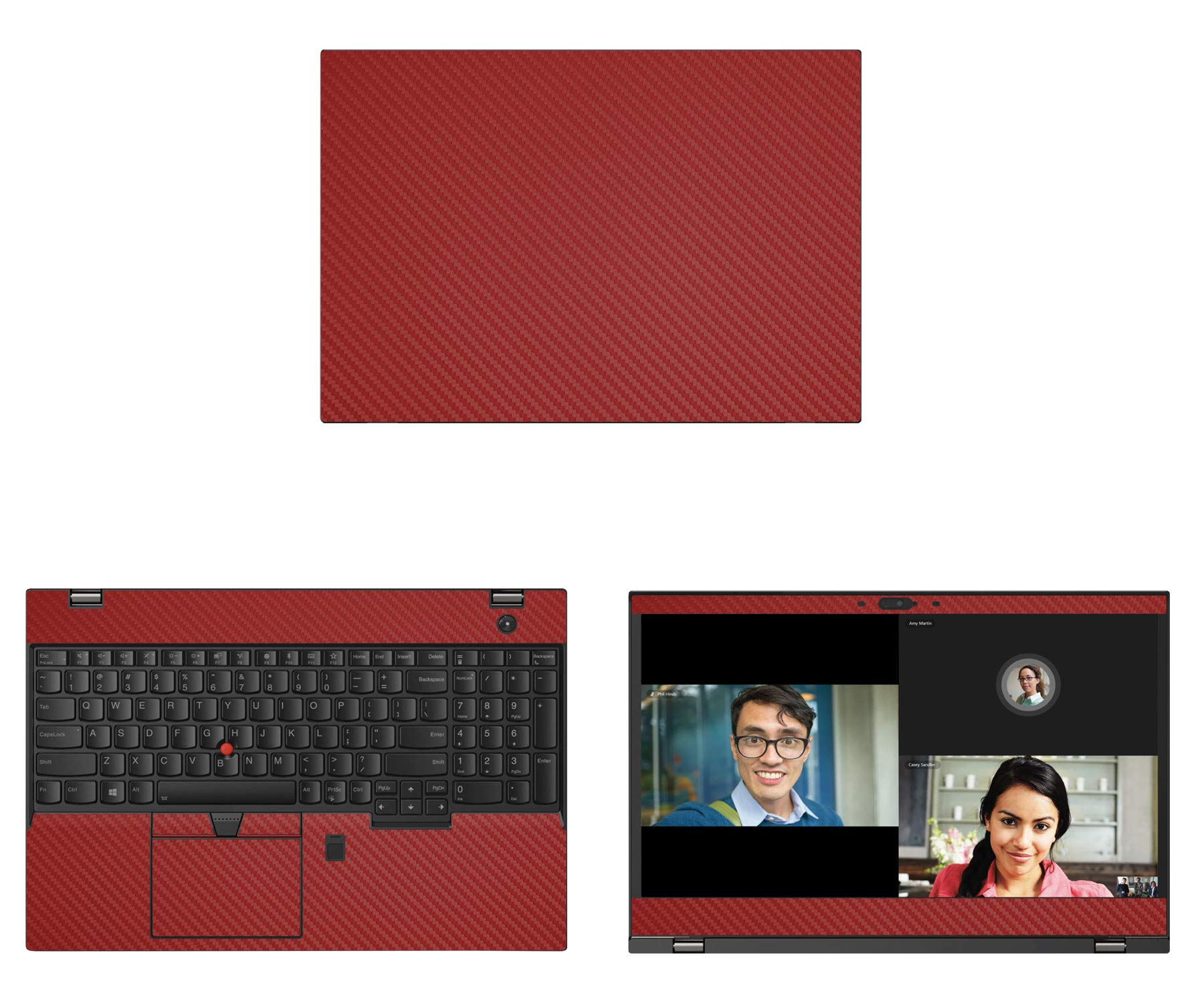 Decalrus - Protective Decal for Lenovo ThinkPad T580 (15.6'' Screen) Laptop RED Carbon Fiber Skin case Cover wrap CFlenovoThnkPad15_T580Red