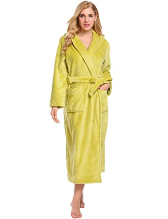 7d0fbf89a4 Vansop Womens Cotton Robe Soft Kimono Robes Knit Bathrobe Loungewear  Sleepwear Short(Green S)