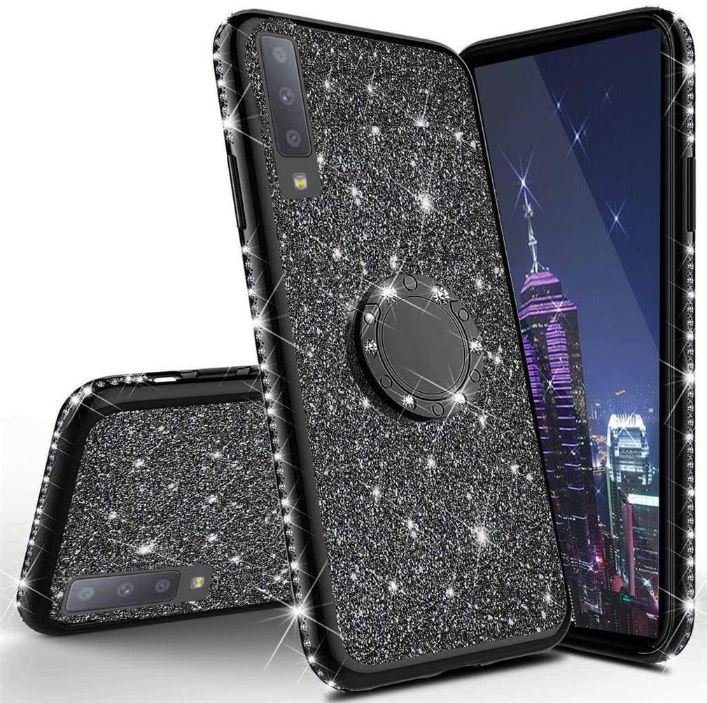 Purple Glitter COTDINFOR Samsung Galaxy A51 Case Glitter Diamond Shining Bling Protective Bumper Silikon with Kickstand Plating TPU Phone Cover for Samsung Galaxy A51