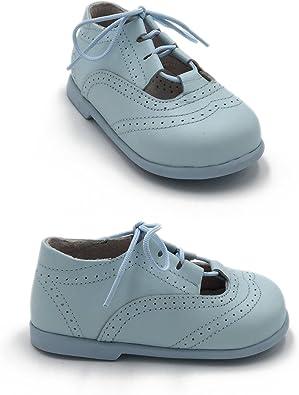 ELFOS - Zapato niño Tipo Gales. Todo Piel. Suela Goma. Primeros Pasos. Hecho en España. Color - Celeste, Talla - 25: Amazon.es: Zapatos y complementos