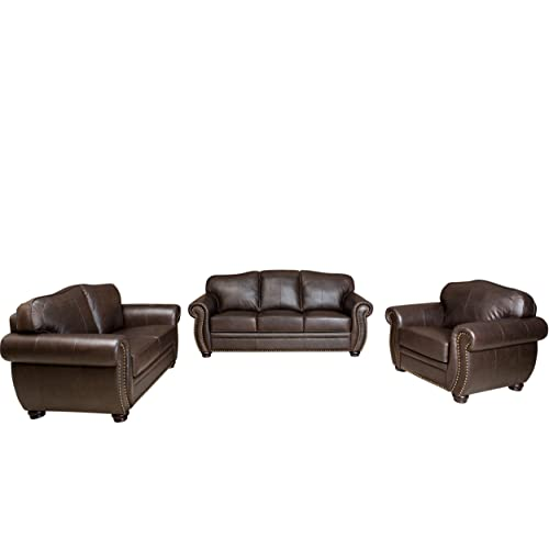 Merveilleux Abbyson Palaza Premium Italian Leather Sofa/Loveseat/Armchair, Brown