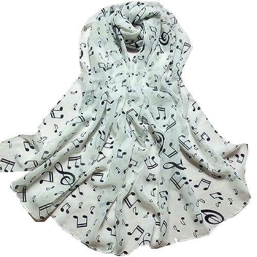 Tongshi Bufandas Mujeres Señora de la nota musical de la gasa del cuello de la bufanda del mantón de...