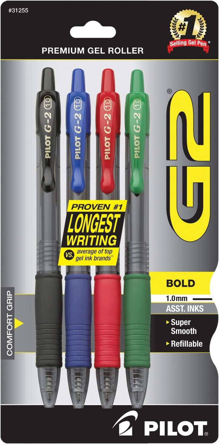 PILOT G2 Premium Refillable & Retractable Rolling Ball Gel Pens, Bold Point, Assorted Color Inks, 4-Pack (31255)