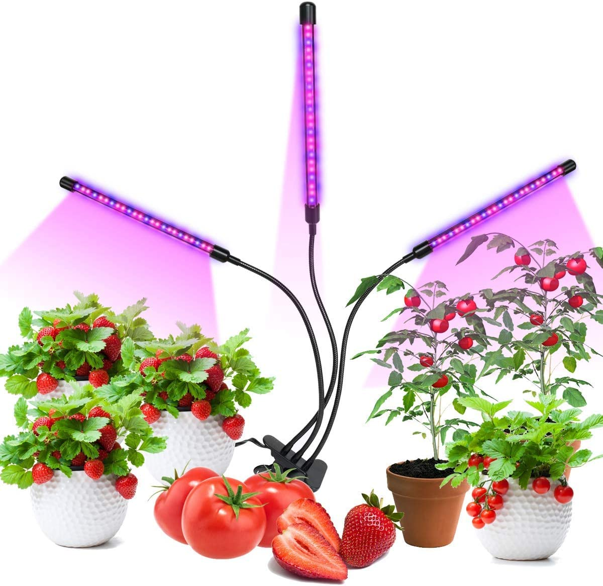 Ustyle Grow Light, Grow Lights for Indoor Plants, 45W 90 LED Bulbs Timming Plant Grow Lamp with Red, Blue Spectrum, 3 9 12H Timer, 3-Head Divide Control Adjustable Gooseneck, 8 Dimmable Levels