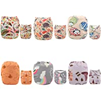 ALVABABY Cloth Diaper Reuseable Washable Adustable Pocket Newborn Infant Toddler Baby Boy Girl 6 Pack Nappies With 12 Inserts Setting Gift 6DM27
