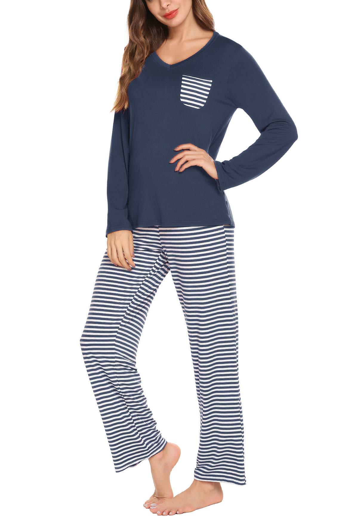 Women Long Sleeves Top with Pants Ladies 2-Piece Pajama Set Sleepwear Pjs Sets Navy Blue L