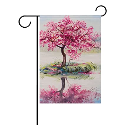 Vantaso Double Sided Garden Flag Oil Painting Cherry Tree UV Fade Mildew  Proof Polyester House Flag