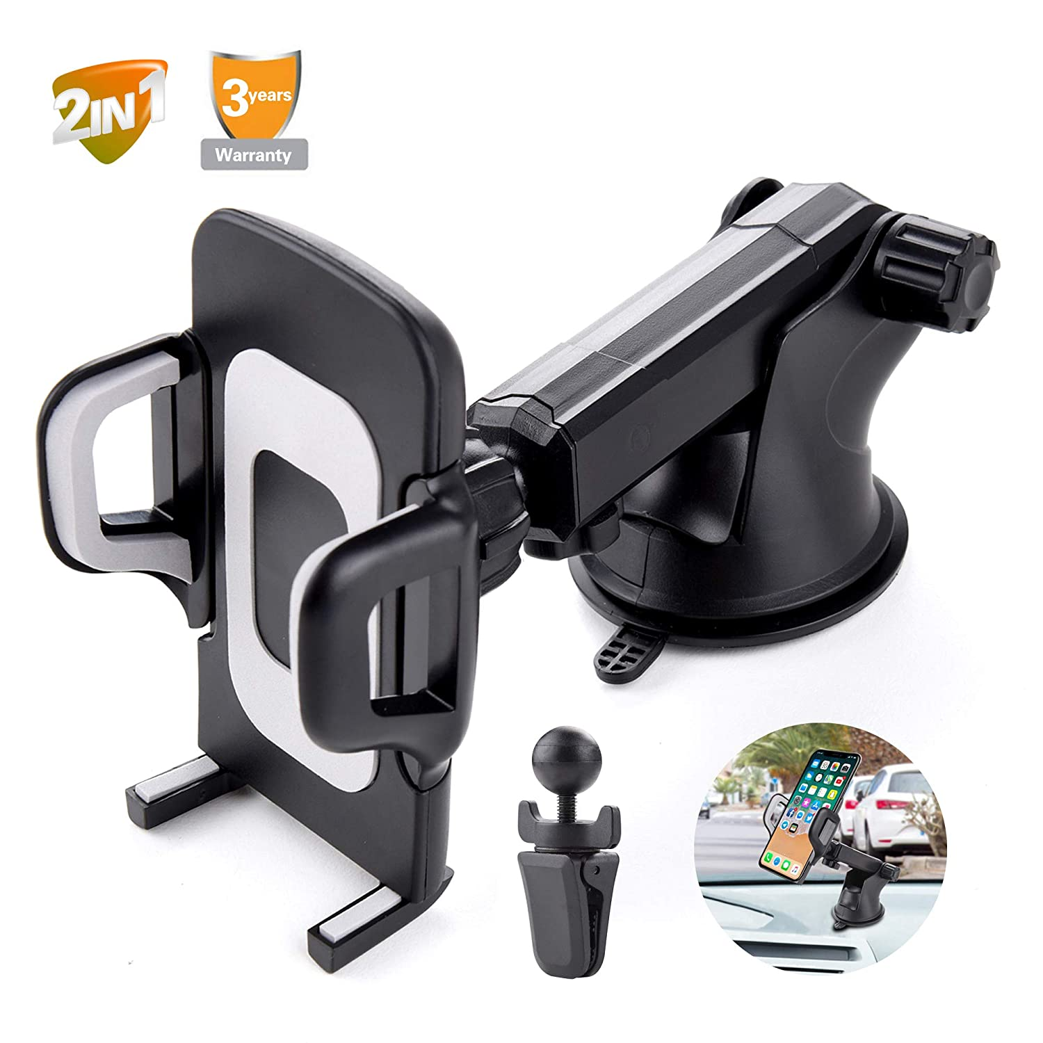 Car Phone Mount Windshield, Dashboard, Air Vent Phone Mount 360¡ãRotation Holder Cell Phone Holder for Car Universal Car Cradles and Mount Compatible for Samsung Glaxy S8 S9, iPhone 6/7/8 Plus etc ¡ ReHuo Dashboard_Car_Phone_Mount