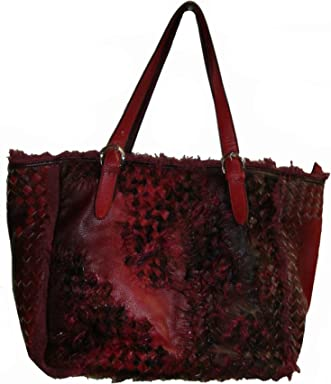 Nicole Lee U.S.A. Womens Tote Handbag, Large, Red/Burgundy/Black