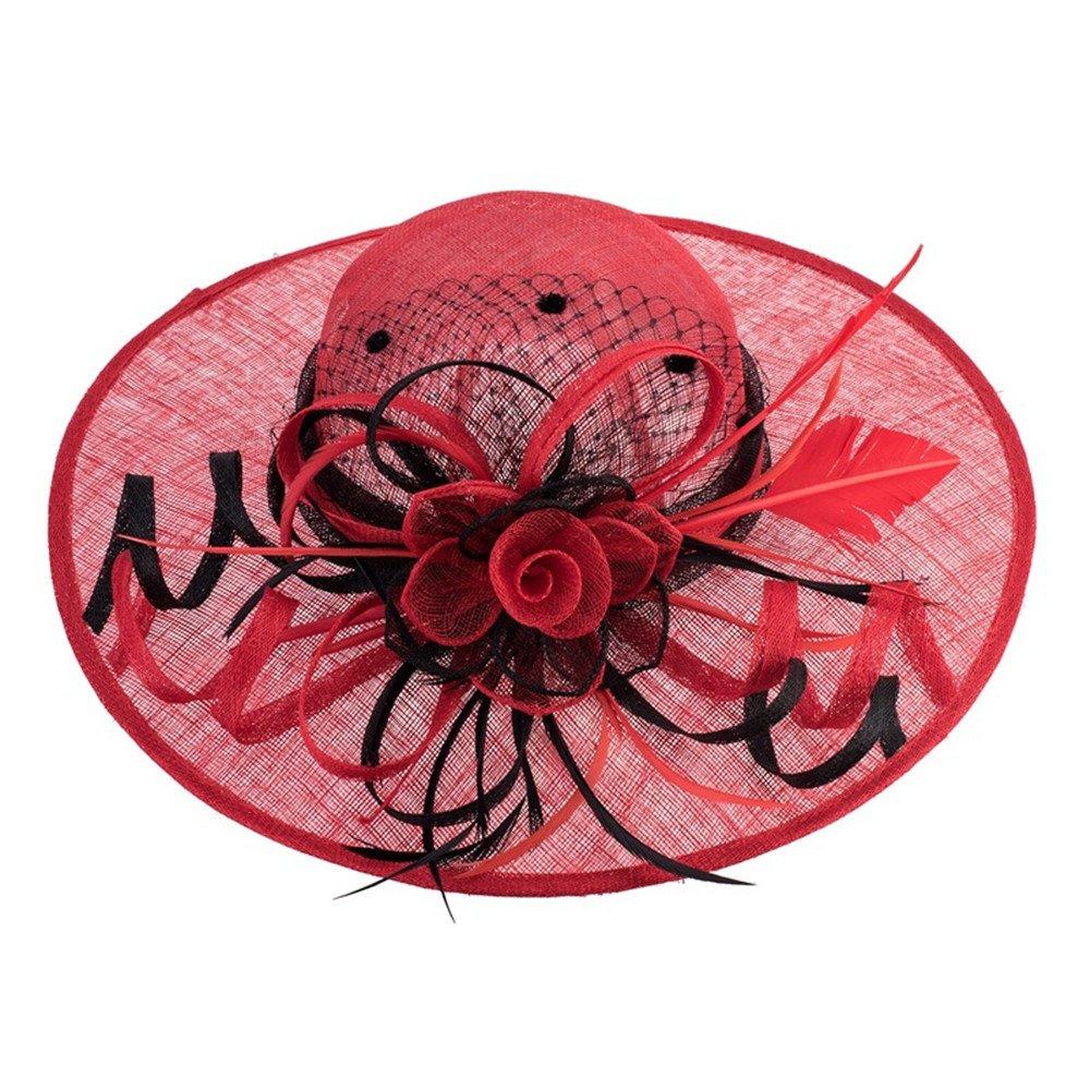 NONGNIML Hats Hüte,Damens's Hanf hat Retro Feather Blumen Hut Sonnenhut, niedlich lässig Frühling Sommer für Hochzeit/Party/Weihnachten/Halloween/Besondere Anlässe Mode Hüte