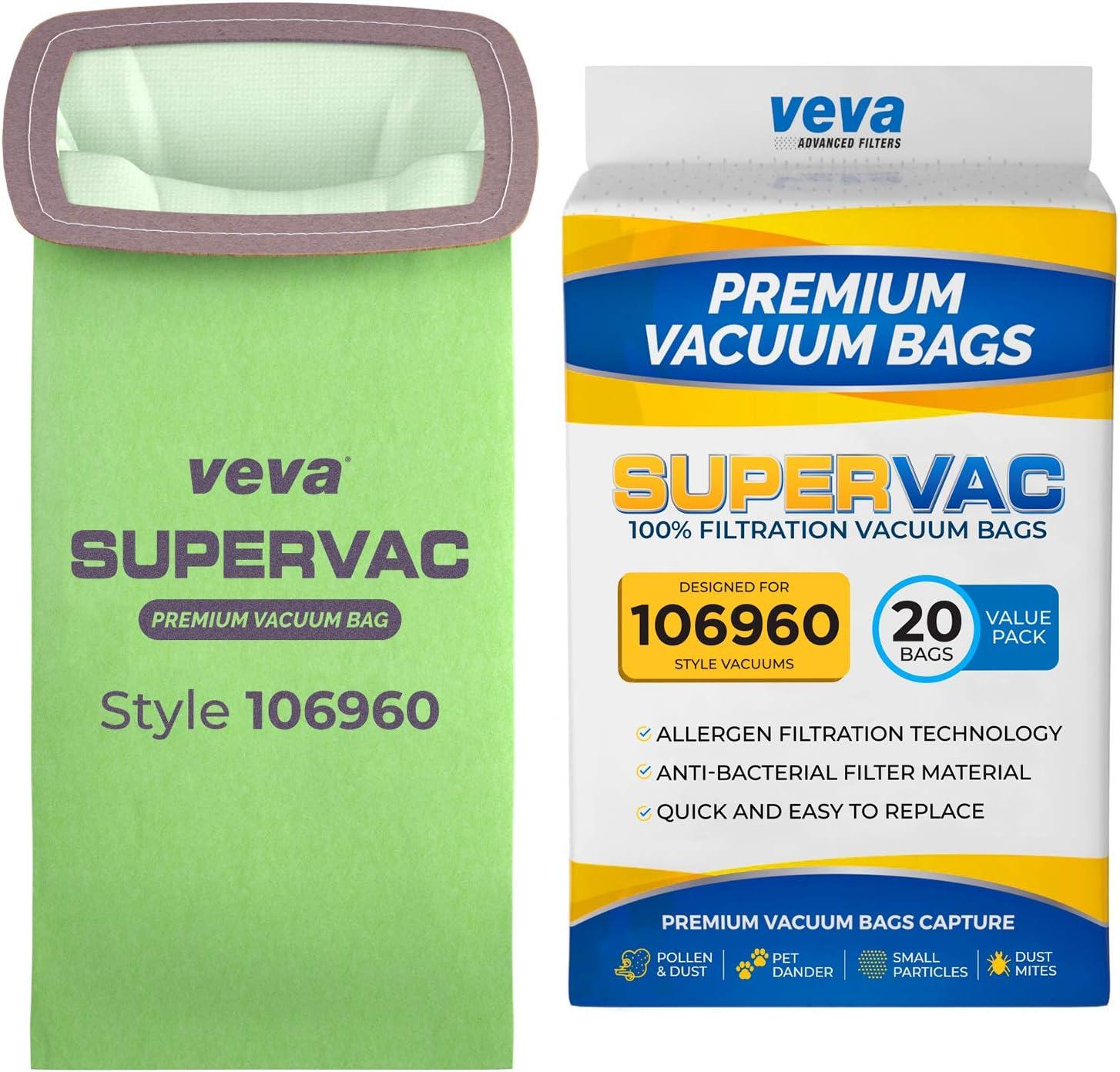 VEVA 20 Pack Premium SuperVac Vacuum Bags 106960 Compatible with ProTeam Super HalfVac Pro Vacuum Cleaner, 6 Quart Bags