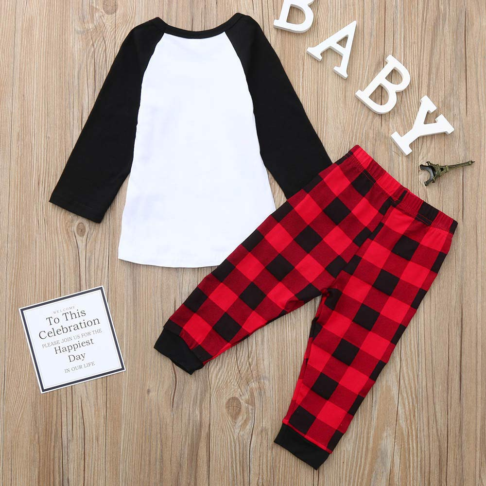 kaiCran Toddler Baby Boys Girls Outfits Sets Letter Print Tops+Plaid Pants Christmas Long Sleeve Clothes