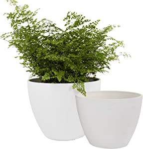 Flower Pots Outdoor Garden Planters, Indoor Plant Pots with Drainage Holes, White (8.6 + 7.5 Inch)