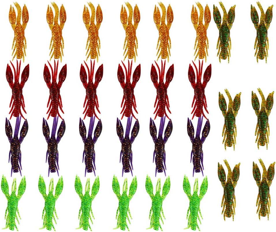 Keenso Kit de señuelo de Pesca, 30 Piezas de PVC 5 Colores 7.5cm 5.5g Señuelos de Pesca de Cangrejo Artificial Señuelos de Pesca de plástico Blando Señuelos de Pesca sin malezas Set con Caja