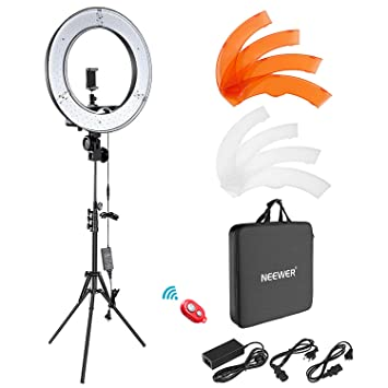 Neewer Camera Photo Video Lightning Kit: 18 inches/48 Centimeters Outer 55W 5500K Dimmable LED Ring Light, Light Stand, Bluetooth Receiver for Smartphone, Youtube, Vine Self-Portrait Video Shooting Ph at amazon