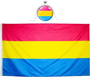 Eugenys Pansexual Flag 3 x 5 Ft - Free Pan Pide Flag Necklace Included - Bright Vivid Colors, Durable Brass Grommets and Double Stitched - UV Fade Resistant Large Pan Pride Banner for Indoor / Outdoor