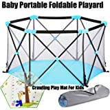 Baby Portable Foldable Playard Baby Playpen Baby Fence for 0-6Ages Kids Play Indoor and Outdoor, with Carry Case and Washable 6-Panel Playard,with Crawling Play Mat For Kids