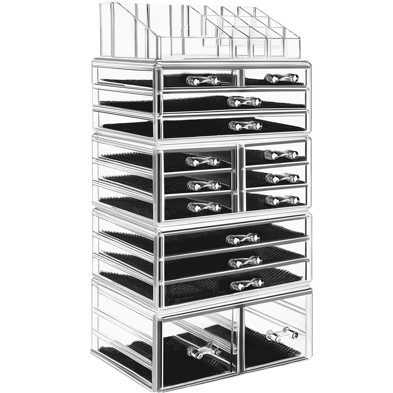 hblife Makeup Organizer 5 Pieces Acrylic Cosmetic Storage Drawers and Jewelry Display Box, Large