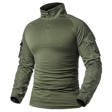3817a26ff55930 ReFire Gear Men's Military Tactical Army Combat Long Sleeve Shirt Slim Fit  Camo T-Shirt