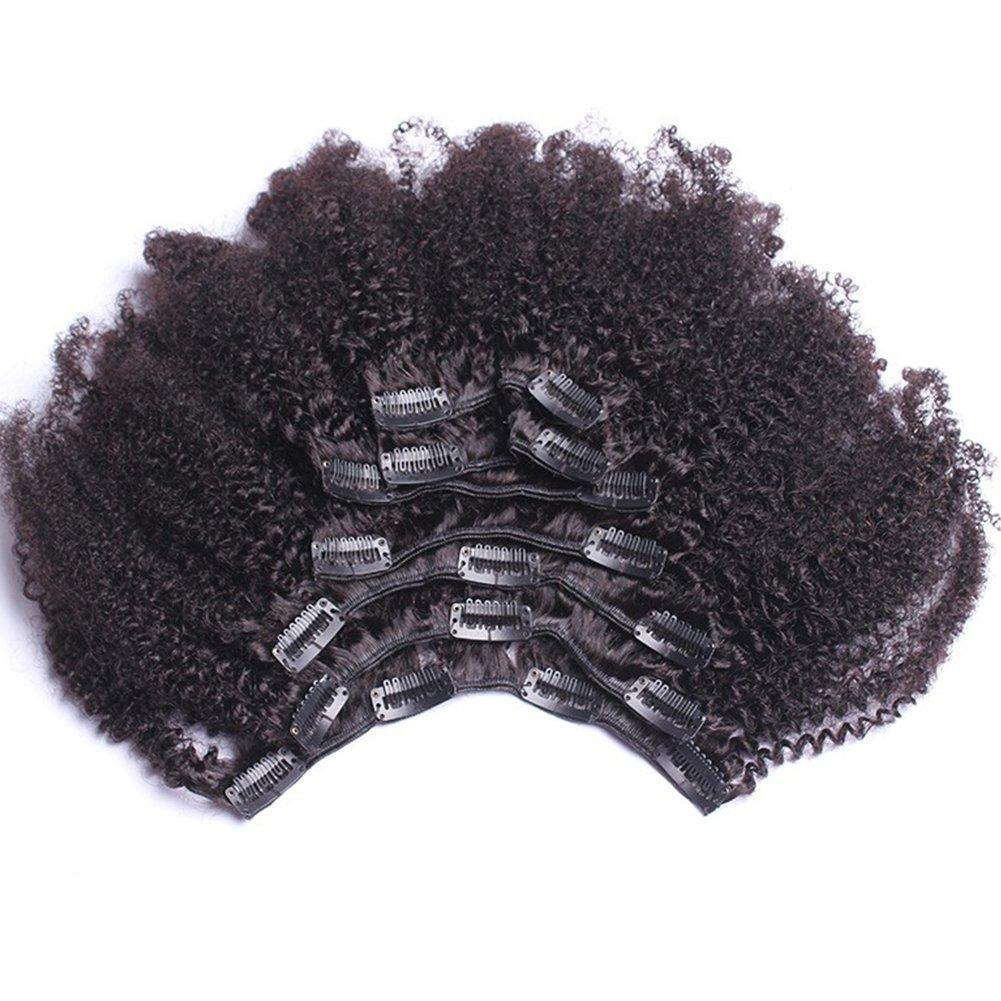 8inch 4b,4c Afro Kinky Curly Clip In Human Hair Extension Virgin Mongolian Human Hair Clip In Hair For Black Women 7pcs/set 120gram/set(net weight 100gram) by QDBeauty
