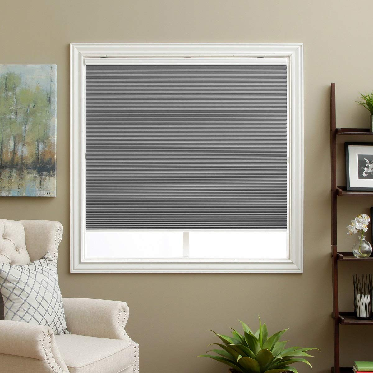 """SBARTAR Cellular Shades Cordless Blackout Honeycomb Blinds Fabric Window Shades 24"""" W x 38"""" H, Cool Silver(Blackout)"""