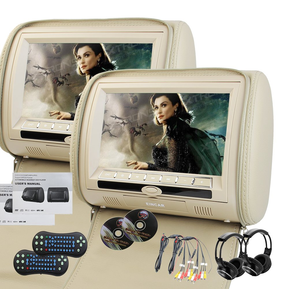 EinCar Beige 2X 9'' Twin Car Headrest DVD Player Pillow HD Pair of Monitors MP3 32 bit Games Dual Twin screens with TWO IR Wireless Headphones