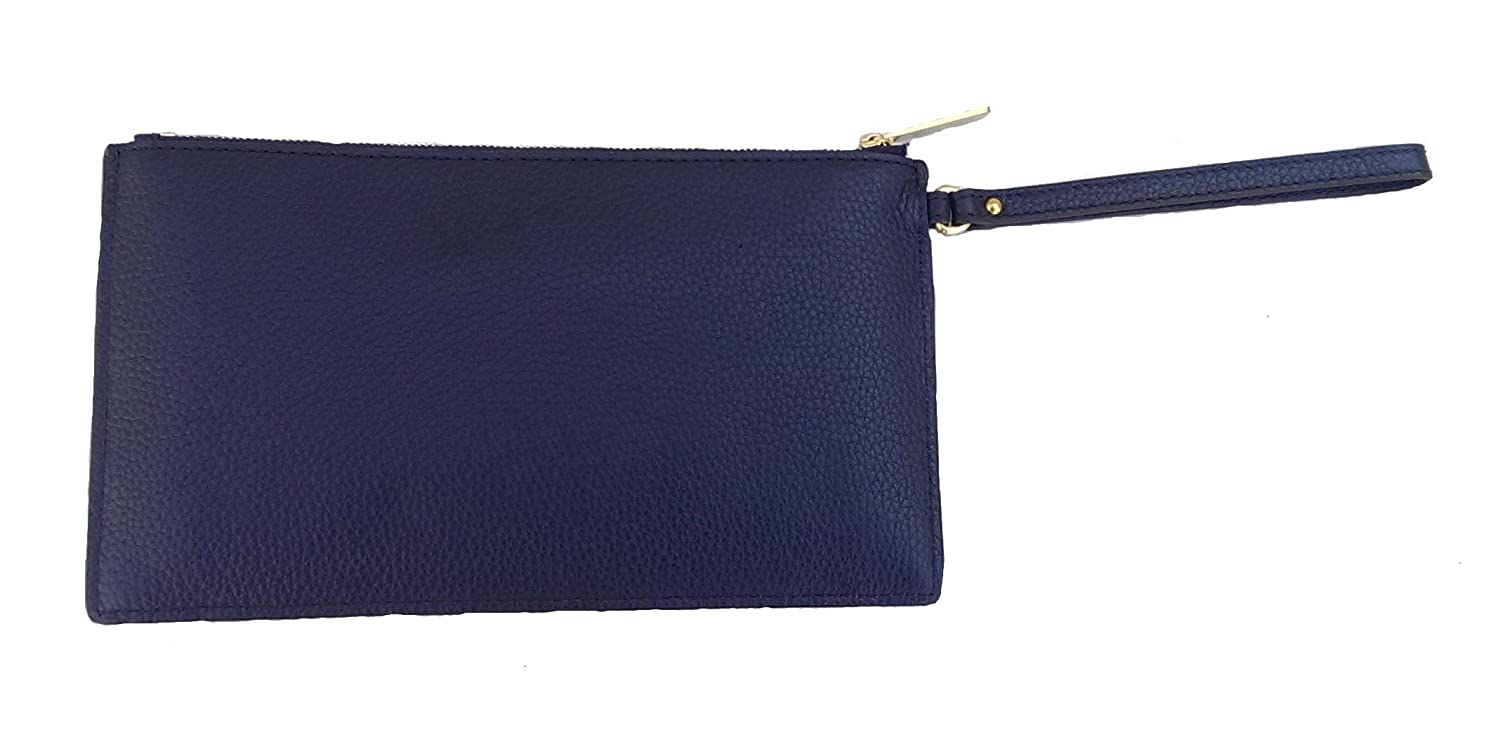 5d6622bd1c73 Amazon.com  Michael Kors Womens Stud Mini Grommets Leather Large Zip Clutch  Wristlet Bag Navy  Clothing