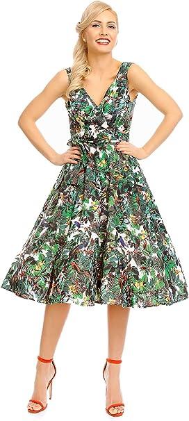 Looking Glam Mujer Retro Vintage Rockabilly Pin- Up Vestido con ...