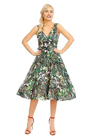 64d50ab8f Looking Glam Mujer Retro Vintage Rockabilly Pin- Up Vestido con Vuelo  Fiesta Vestido de Flores  Amazon.es  Ropa y accesorios