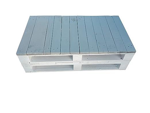 Mesa de Palets Pintada en Color Blanco- Gris - Mesas Modernas de ...