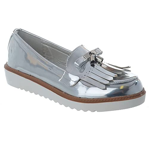 Miss Image UK - Mocasines mujer , color Plateado, talla 40 EU: Amazon.es: Zapatos y complementos
