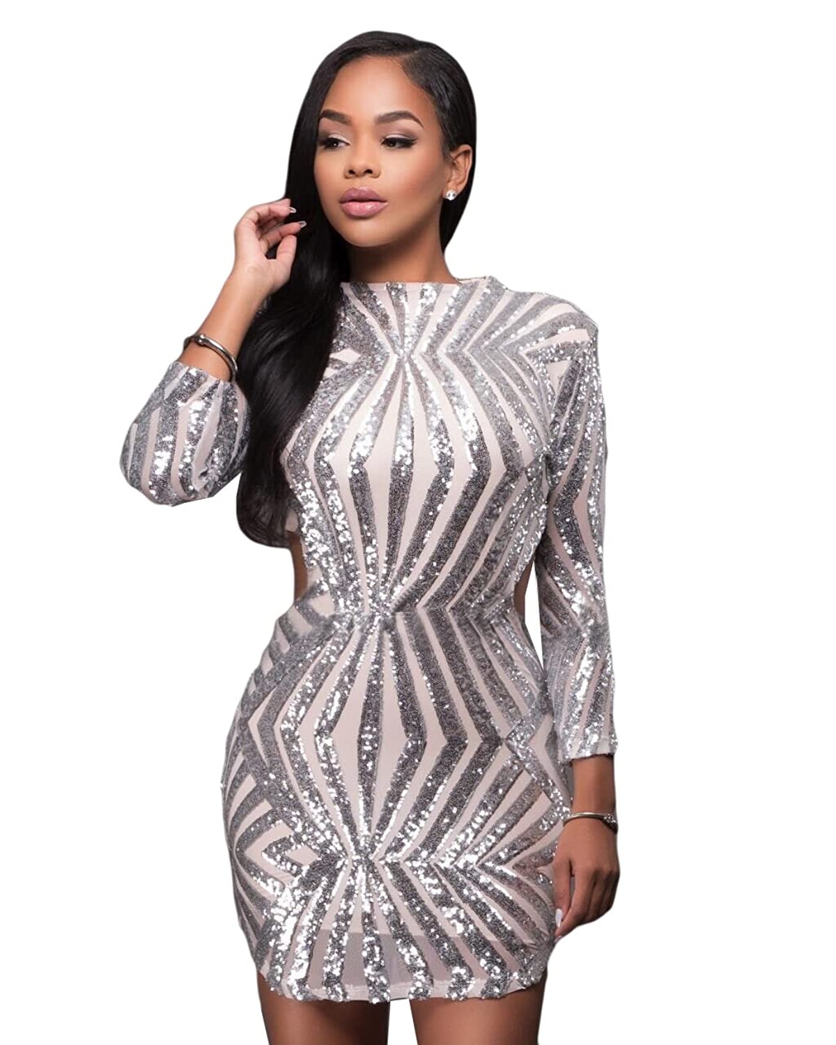 Women Round Neck 3/4 Sleeve Sequin Glitter Backless Clubwear Bodycon Mini Dress