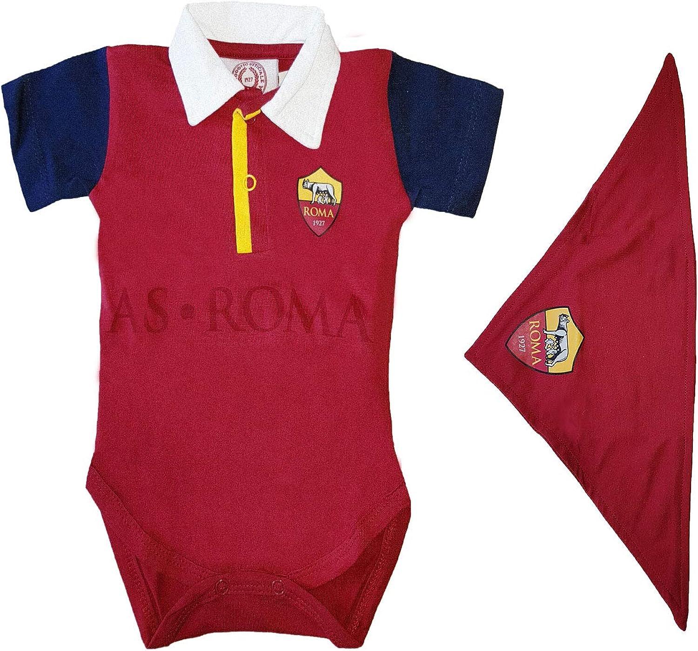 13661 Bandana Prodotto Ufficiale Art AS Roma Body Polo Neonato in Cotone