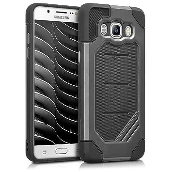 kwmobile Funda compatible con Samsung Galaxy J5 (2016) DUOS - Carcasa de [TPU] con diseño de armadura en [antracita / negro]