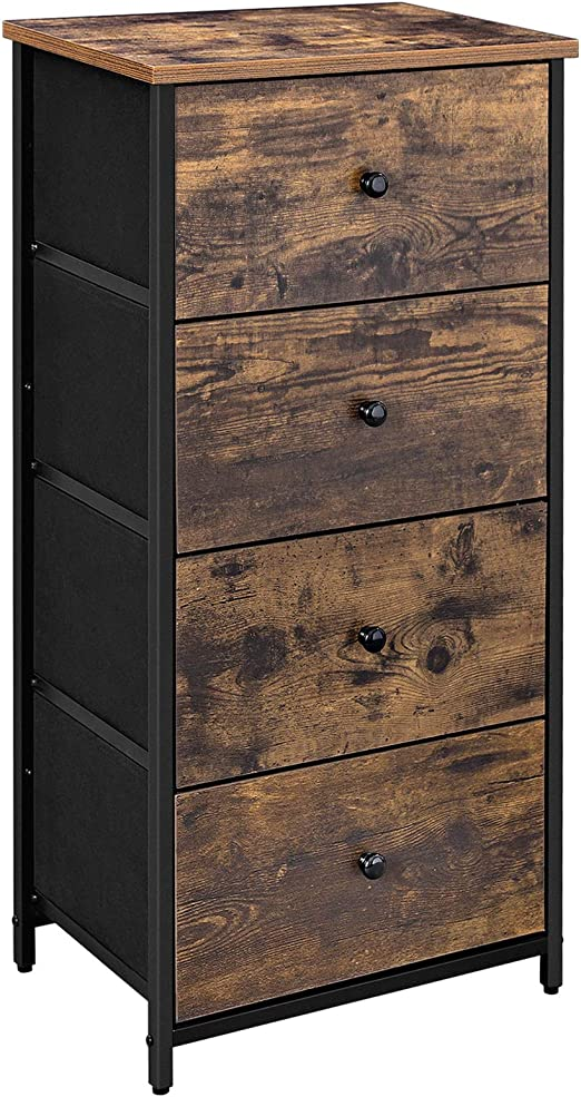 Amazon Com Songmics Rustic Vertical Dresser Tower Industrial Drawer Dresser With 4 Drawers Wooden Top And Front Metal Frame Fabric Closet Storage Rustic Brown And Black Ulgs04h Kitchen Dining