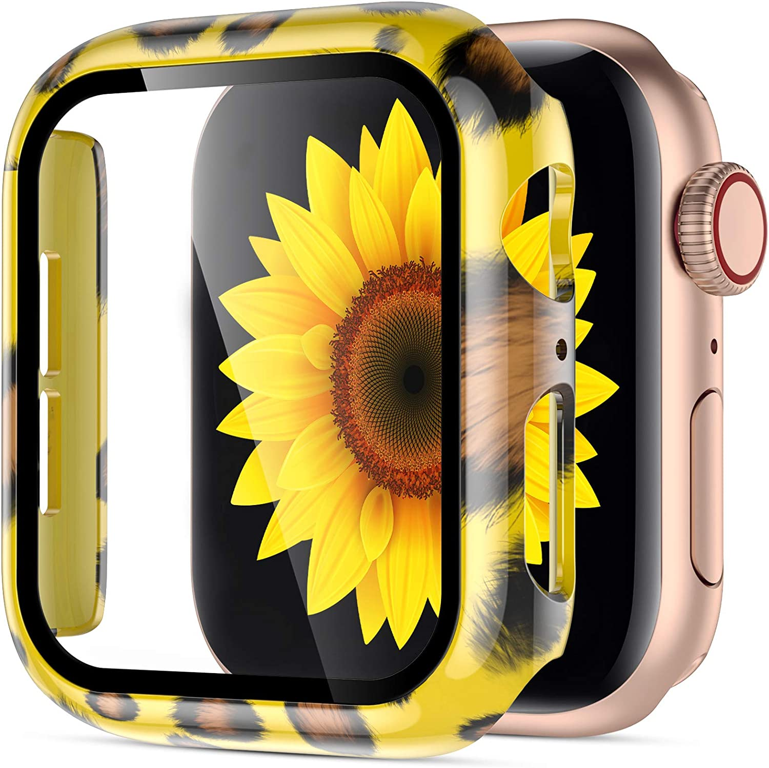 GEAK Compatible with Apple Watch Series 3/2/1 with Screen Protector 38mm, High Sensitivity Protective Case with Fadeless Printed Pattern for Apple Watch Series 3 38mm Case Yellow Leopard