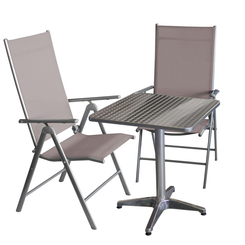 Balkonmöbel-Set Bistrotisch, Aluminium, Tischplatte in Schleifoptik ...
