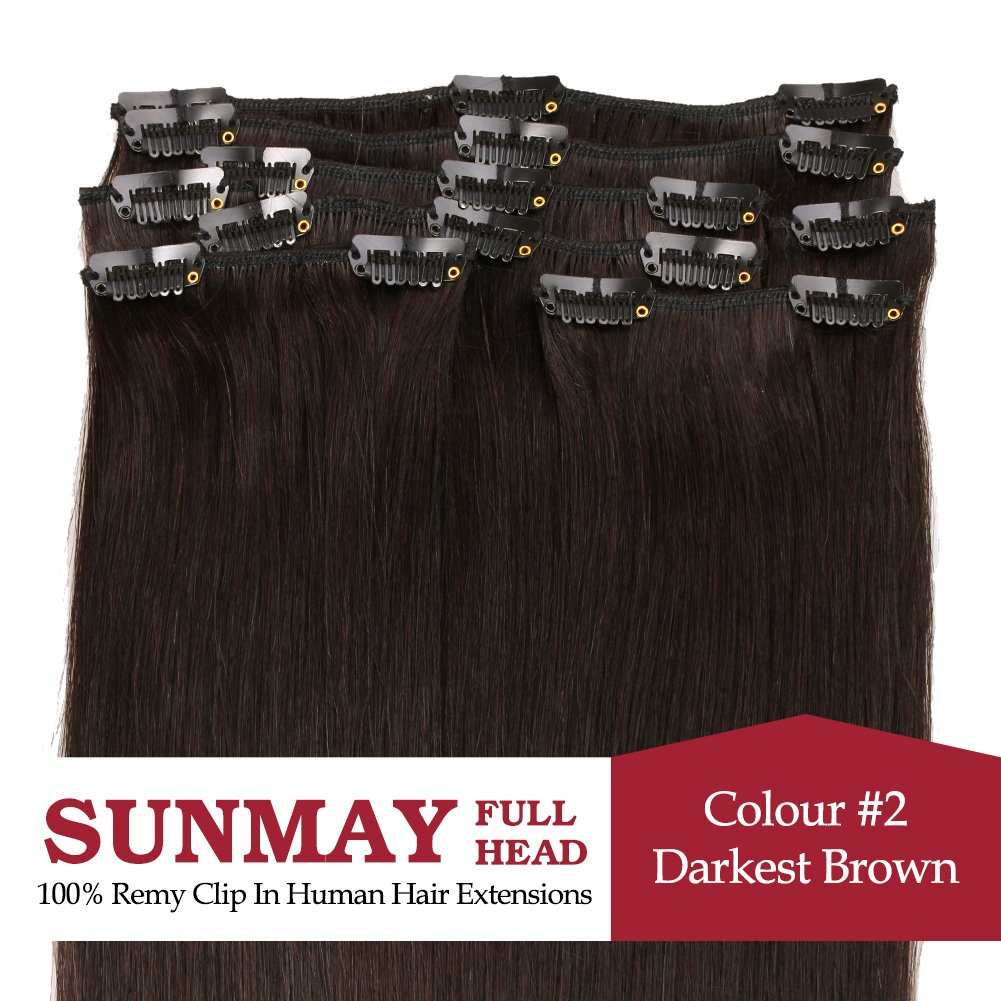 Sunmay remy clip in human hair extensions full head of 20 inch sunmay remy clip in human hair extensions full head of 20 inch human hair high quality remy hair 2 darkest brownmdn 20 2 amazon beauty pmusecretfo Images