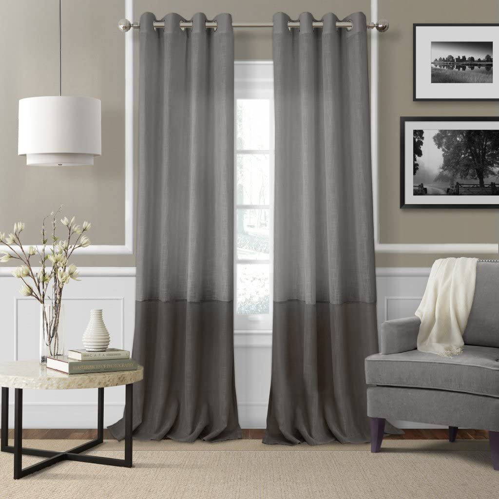 Elrene Home Fashions Melody Sheer Window Panel 52-Inch by 84-Inch, Gray, Set of 2