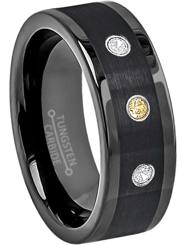 November Birthstone Ring 0.21ctw Citrin /& Diamond 3-Stone Anniversary Band 8mm Pipe Cut Black Tungsten Carbide Ring Tungsten Wedding Ring